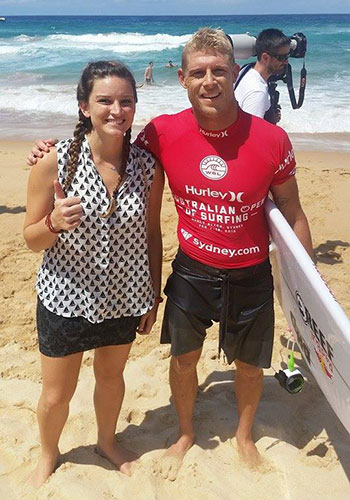 Emma-Mannering-Student-Services-Officer-and-Mick-Fanning-Surfer