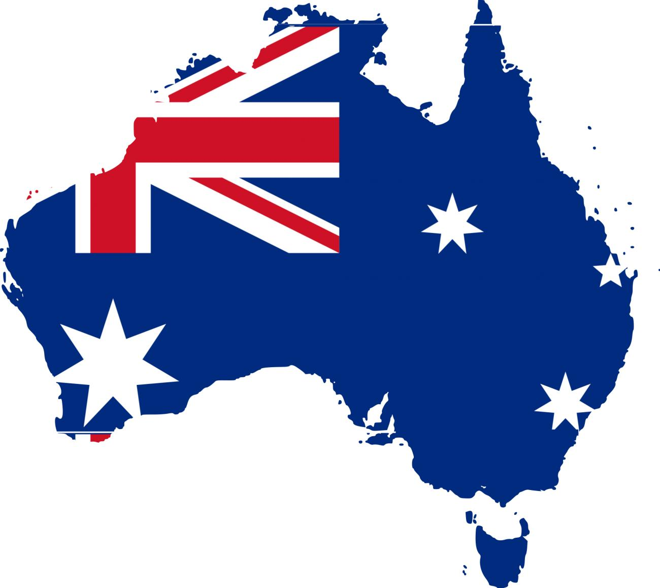 Australia continent and flag