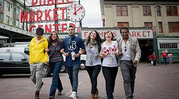 Kaplan students at Pike Place Market Seattle