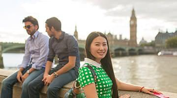 Kaplan students at Southbank London with Big Ben in background