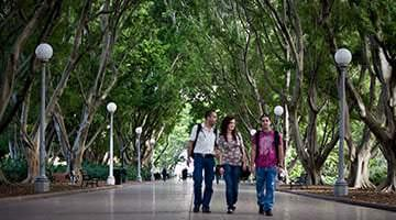 Kaplan students walking through gardens in Sydney
