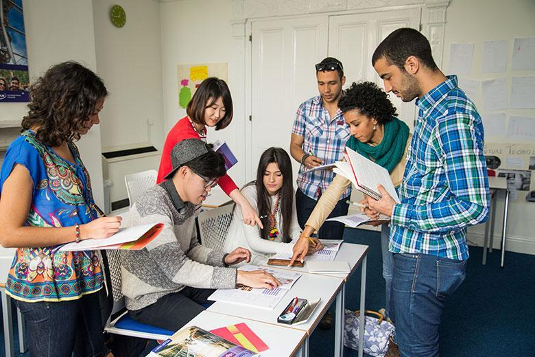 Students studying English in Kaplan Dublin school