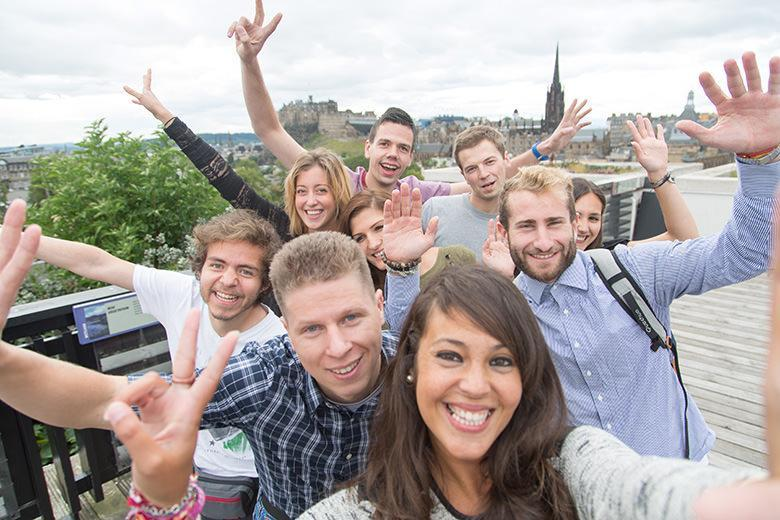 International students having fun in Edinburgh
