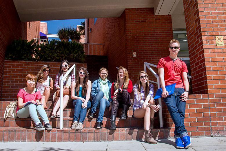 Students relaxing outside Kaplan English school LA Westwood
