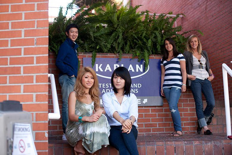 adult students in front of kaplan's school in LA Westwood