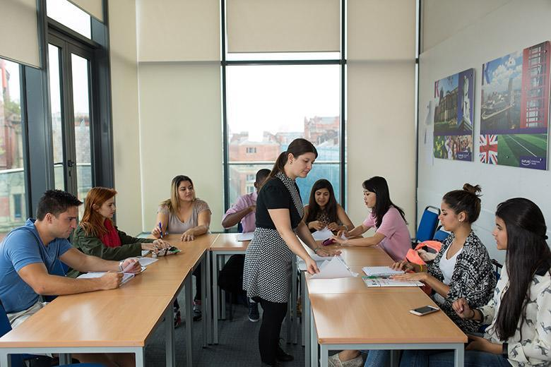 International students during an English course