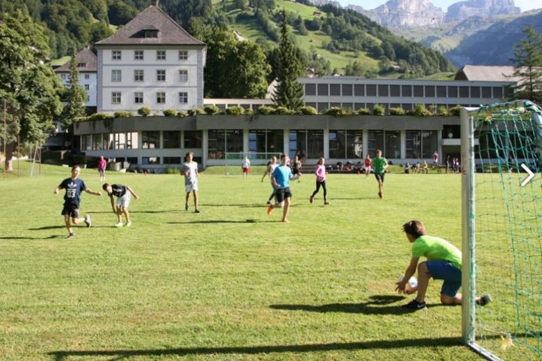 Alpadia students play football during language summer camp