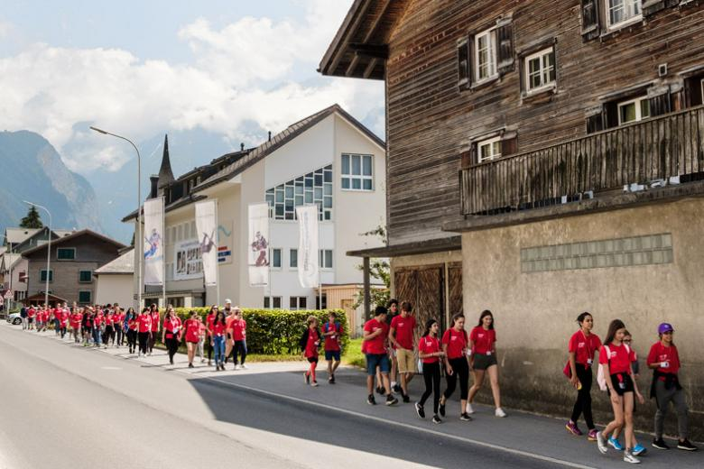 Alpadia students in Engelberg town center