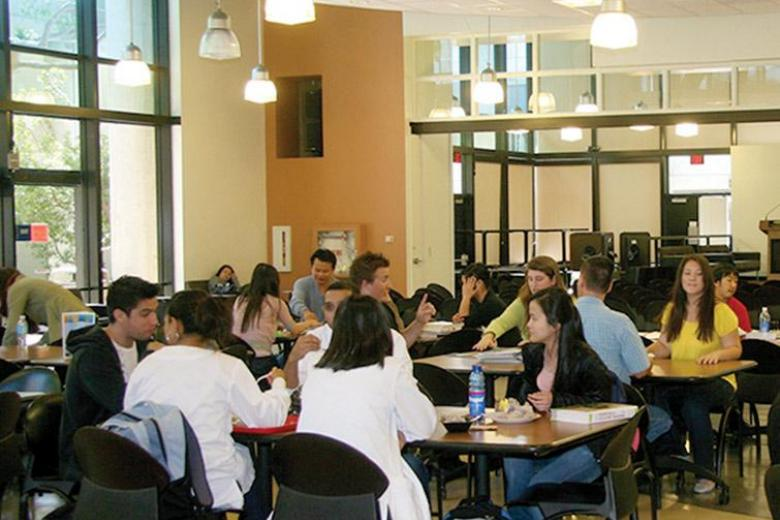 Students at Kaplan school in Golden West College cafeteria