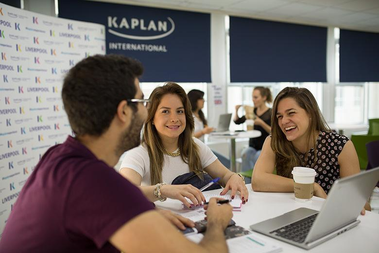 Students relaxing in the study lounge at our Kaplan International Language's English school in Liverpool