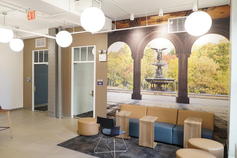 student lounge at Kaplan International Language's 30+ English school in New York