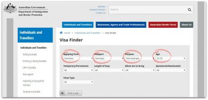 Visum Australien - Visa Finder